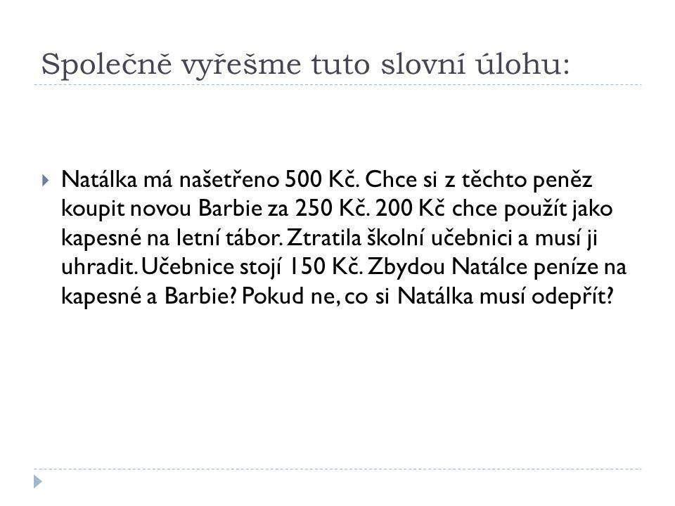 Společně vyřešme tuto slovní úlohu:  Natálka má našetřeno 500 Kč. Chce si z těchto peněz koupit novou Barbie za 250 Kč. 200 Kč chce použít jako kapes
