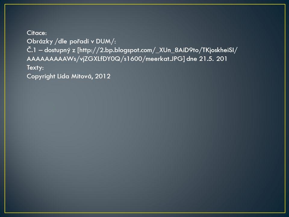 Citace: Obrázky /dle pořadí v DUM/: Č.1 – dostupný z [http://2.bp.blogspot.com/_XUn_8AiD9to/TKjoskheiSI/ AAAAAAAAAWs/vjZGXLfDY0Q/s1600/meerkat.JPG] dne 21.5.