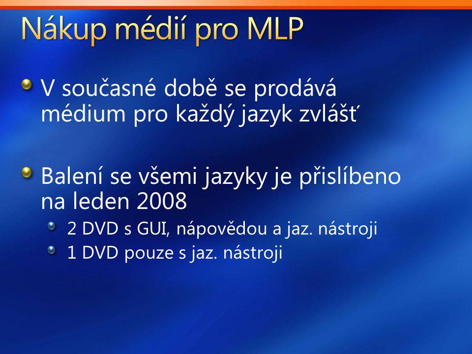 V současné době se prodává médium pro každý jazyk zvlášť Balení se všemi jazyky je přislíbeno na leden 2008 2 DVD s GUI, nápovědou a jaz.