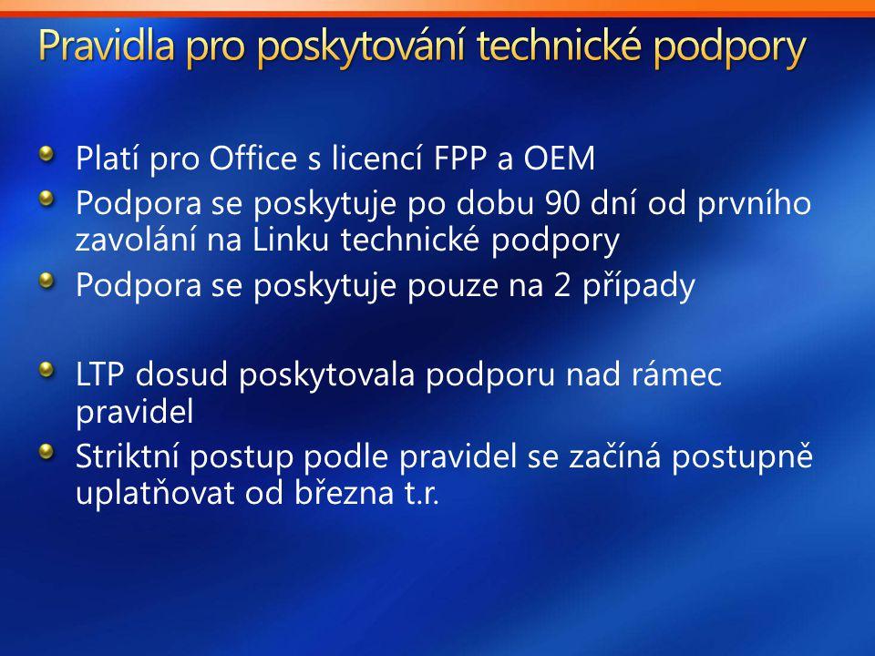 Platí pro Office s licencí FPP a OEM Podpora se poskytuje po dobu 90 dní od prvního zavolání na Linku technické podpory Podpora se poskytuje pouze na 2 případy LTP dosud poskytovala podporu nad rámec pravidel Striktní postup podle pravidel se začíná postupně uplatňovat od března t.r.
