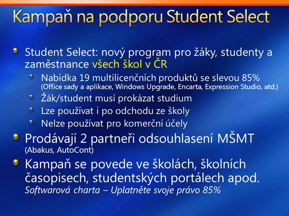 Student Select: nový program pro žáky, studenty a zaměstnance všech škol v ČR Nabídka 19 multilicenčních produktů se slevou 85% (Office sady a aplikace, Windows Upgrade, Encarta, Expression Studio, atd.) Žák/student musí prokázat studium Lze používat i po odchodu ze školy Nelze používat pro komerční účely Prodávají 2 partneři odsouhlasení MŠMT (Abakus, AutoCont) Kampaň se povede ve školách, školních časopisech, studentských portálech apod.