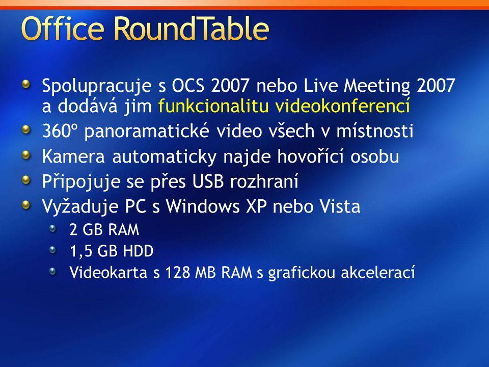 Spolupracuje s OCS 2007 nebo Live Meeting 2007 a dodává jim funkcionalitu videokonferencí 360º panoramatické video všech v místnosti Kamera automaticky najde hovořící osobu Připojuje se přes USB rozhraní Vyžaduje PC s Windows XP nebo Vista 2 GB RAM 1,5 GB HDD Videokarta s 128 MB RAM s grafickou akcelerací