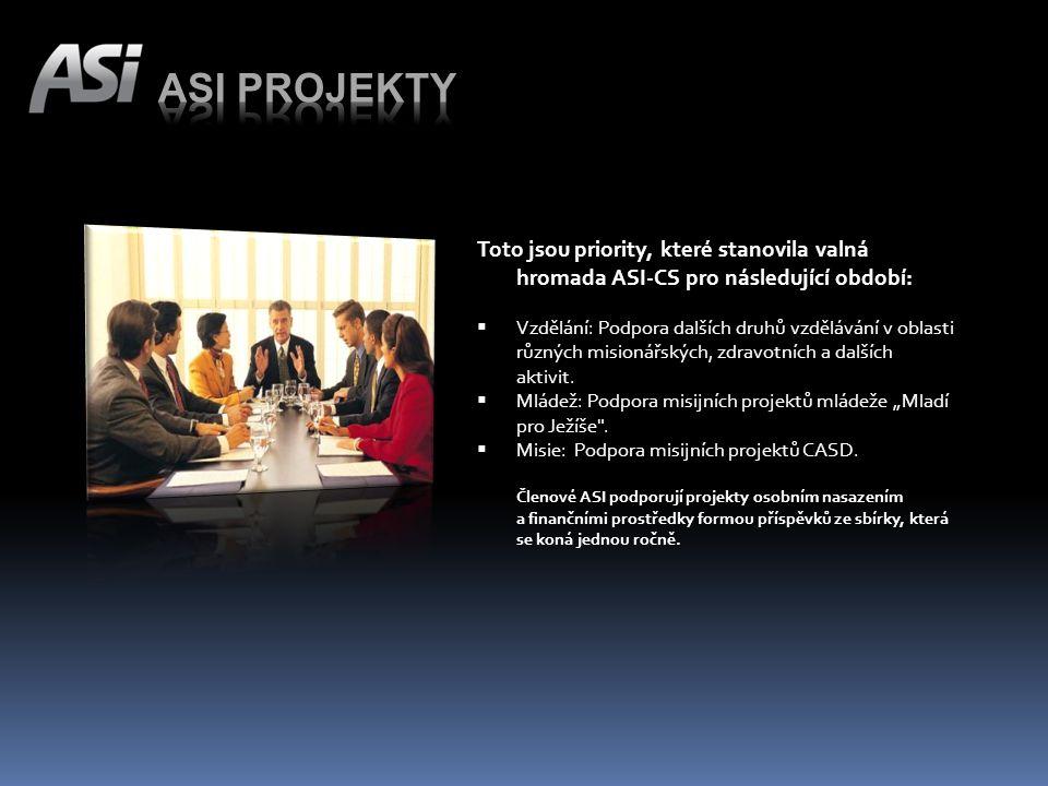 Toto jsou priority, které stanovila valná hromada ASI-CS pro následující období:  Vzdělání: Podpora dalších druhů vzdělávání v oblasti různých misionářských, zdravotních a dalších aktivit.