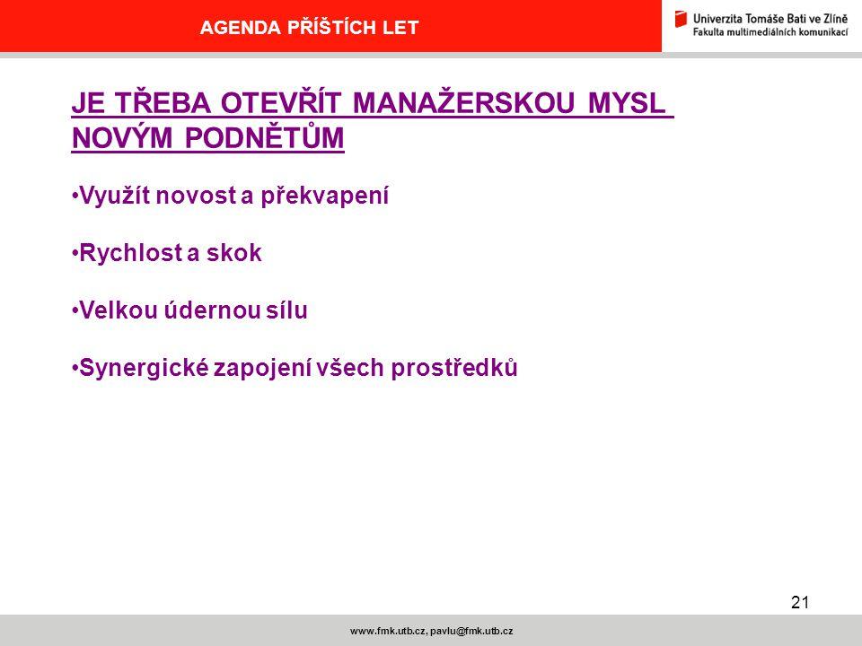 21 www.fmk.utb.cz, pavlu@fmk.utb.cz AGENDA PŘÍŠTÍCH LET JE TŘEBA OTEVŘÍT MANAŽERSKOU MYSL NOVÝM PODNĚTŮM Využít novost a překvapení Rychlost a skok Velkou údernou sílu Synergické zapojení všech prostředků