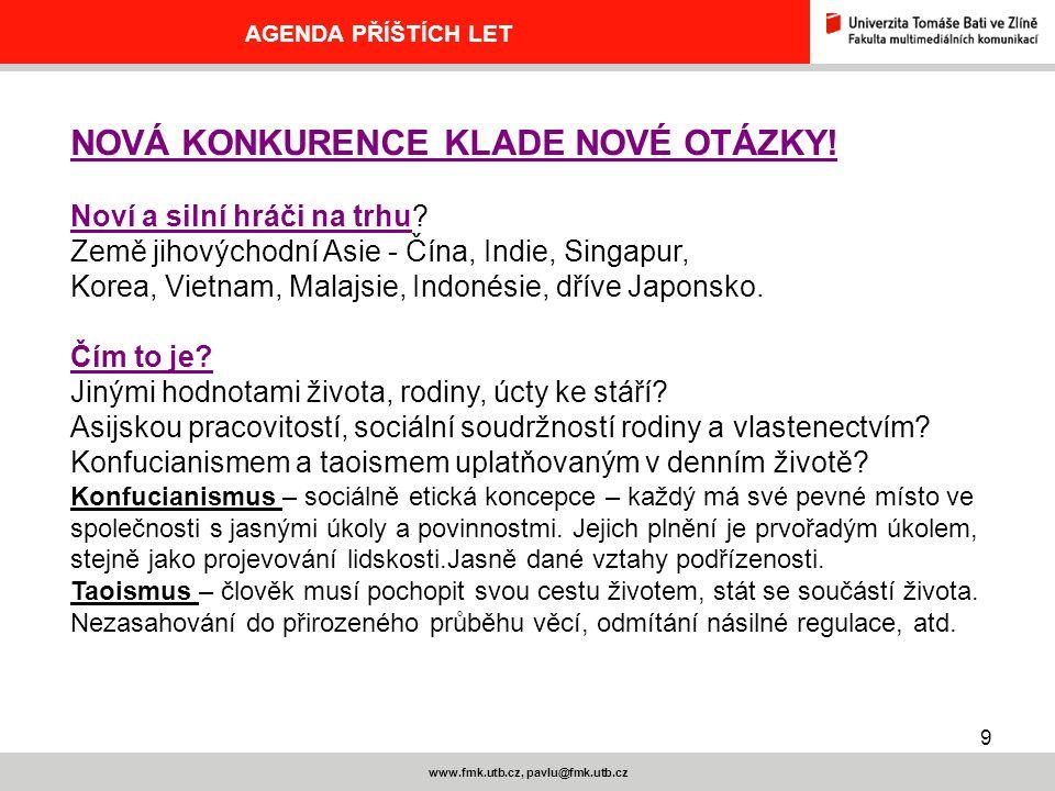 20 www.fmk.utb.cz, pavlu@fmk.utb.cz AGENDA PŘÍŠTÍCH LET SEDM PRAVIDEL SUPERKONKURENČNÍHO ÚSPĚCHU 1.Vyšší uspokojení opatřovatelů kapitálu vyvolá zájem na smělém manévrování 2.Nezůstávat u předvídání, pustit se do odvážných dohadů 3.Připravit překvapení, která vyvedou soupeře z míry 4.Postupovat velmi rychle 5.Měnit přístupy a uvádět soupeře ve zmatek 6.Vypouštět klamná znamení, clonu 7.Měnit soustředění sil a prostředků, nečekaně střídat údery