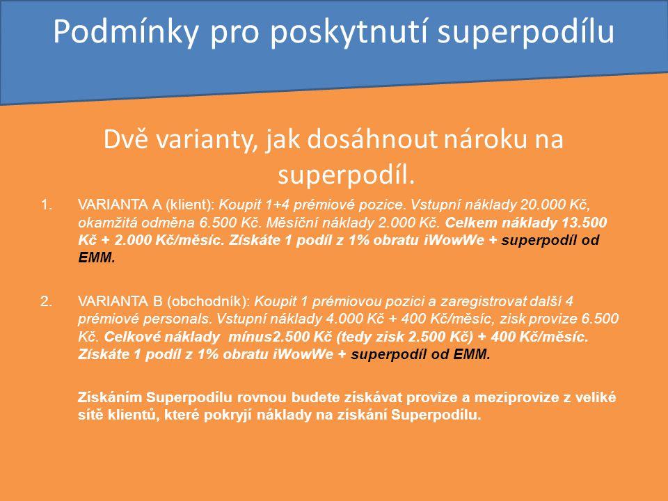 Podmínky pro poskytnutí superpodílu Dvě varianty, jak dosáhnout nároku na superpodíl. 1.VARIANTA A (klient): Koupit 1+4 prémiové pozice. Vstupní nákla