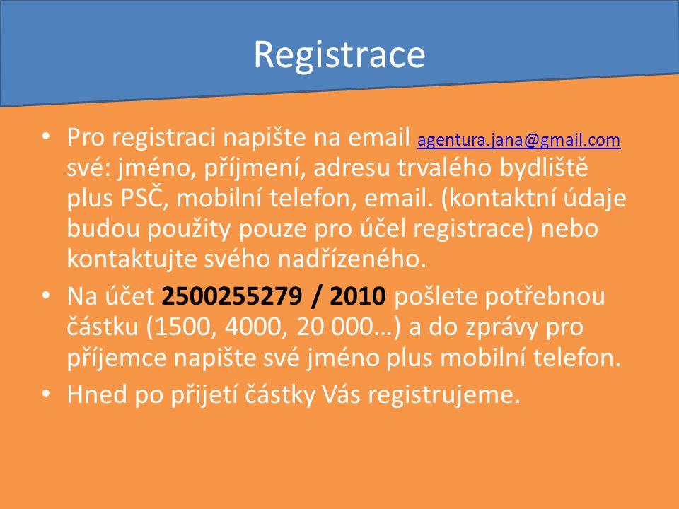 Registrace Pro registraci napište na email agentura.jana@gmail.com své: jméno, příjmení, adresu trvalého bydliště plus PSČ, mobilní telefon, email. (k