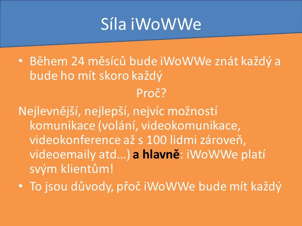 Síla iWoWWe Během 24 měsíců bude iWoWWe znát každý a bude ho mít skoro každý Proč? Nejlevnější, nejlepší, nejvíc možností komunikace (volání, videokom