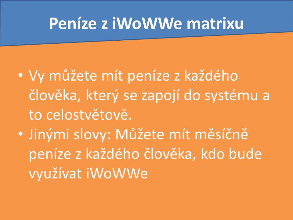 Peníze z iWoWWe matrixu Vy můžete mít peníze z každého člověka, který se zapojí do systému a to celostvětově. Jinými slovy: Můžete mít měsíčně peníze