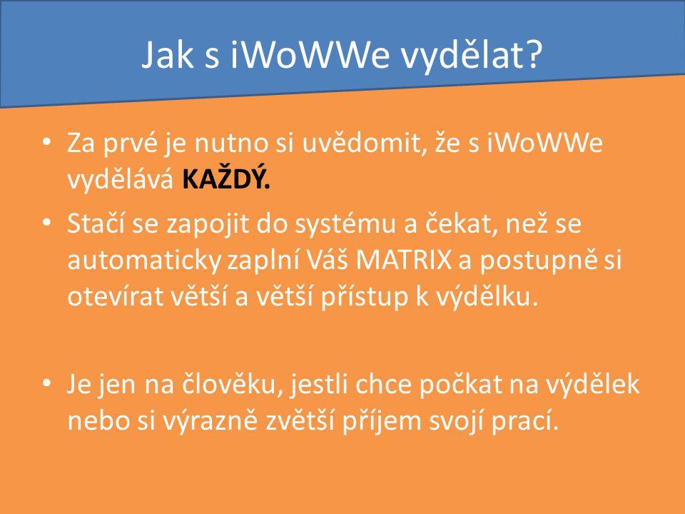 Jak s iWoWWe vydělat? Za prvé je nutno si uvědomit, že s iWoWWe vydělává KAŽDÝ. Stačí se zapojit do systému a čekat, než se automaticky zaplní Váš MAT