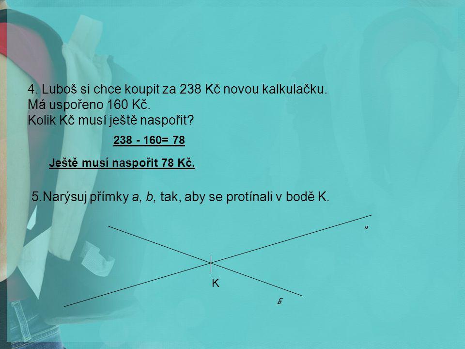 4.Luboš si chce koupit za 238 Kč novou kalkulačku.
