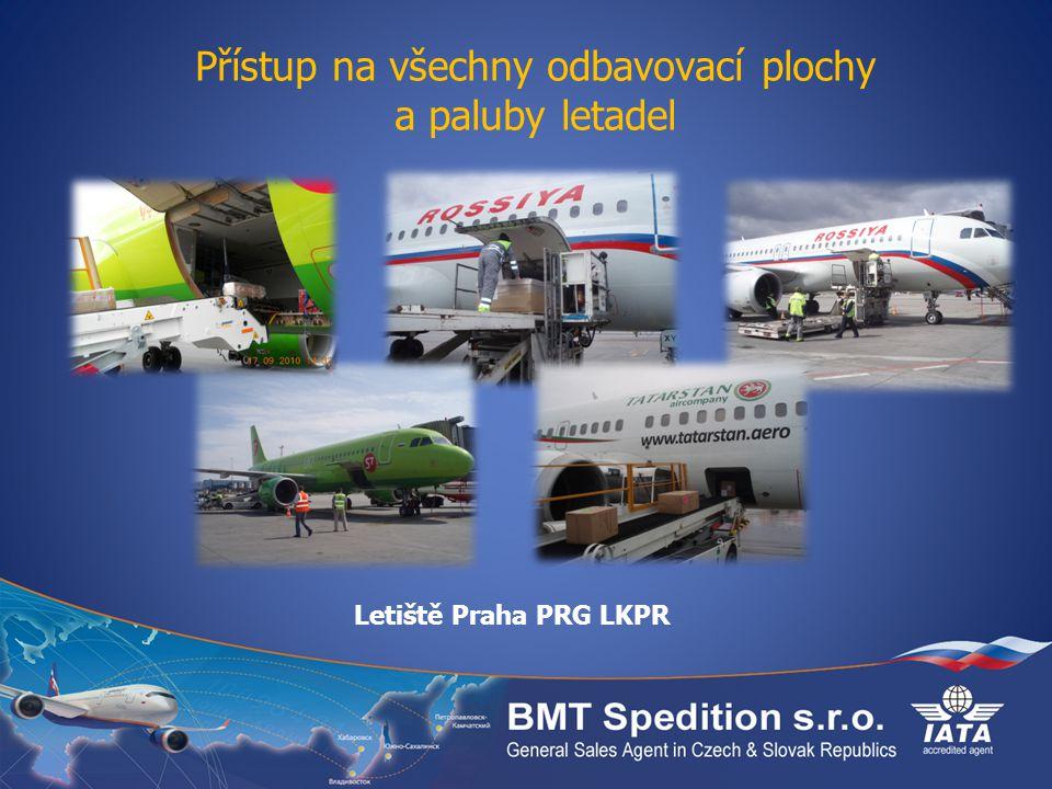 Přístup na všechny odbavovací plochy a paluby letadel Letiště Praha PRG LKPR