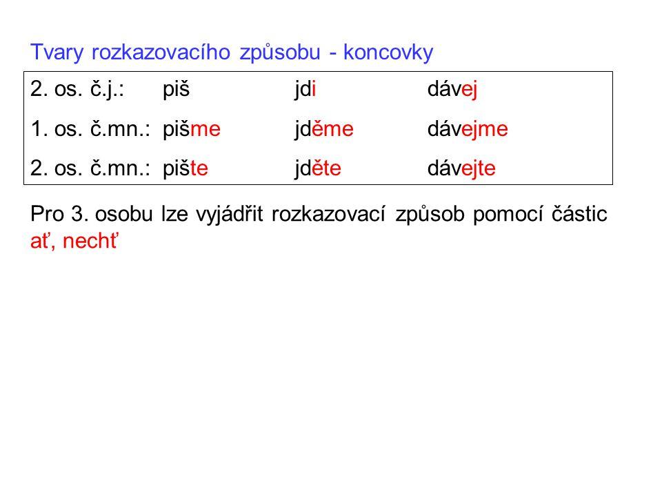 Tvary rozkazovacího způsobu - koncovky 2. os. č.j.:pišjdidávej 1. os. č.mn.:pišmejděmedávejme 2. os. č.mn.:pištejdětedávejte Pro 3. osobu lze vyjádřit