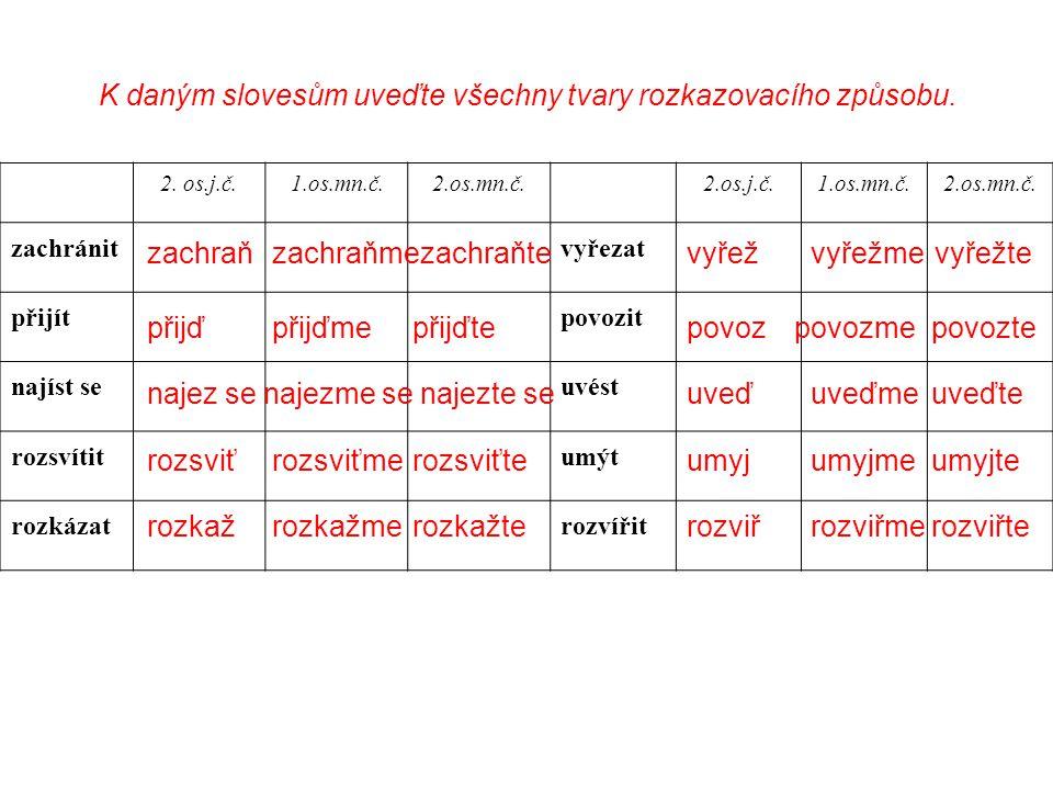 K daným slovesům uveďte všechny tvary rozkazovacího způsobu. 2. os.j.č.1.os.mn.č.2.os.mn.č.2.os.j.č.1.os.mn.č.2.os.mn.č. zachránitvyřezat přijítpovozi