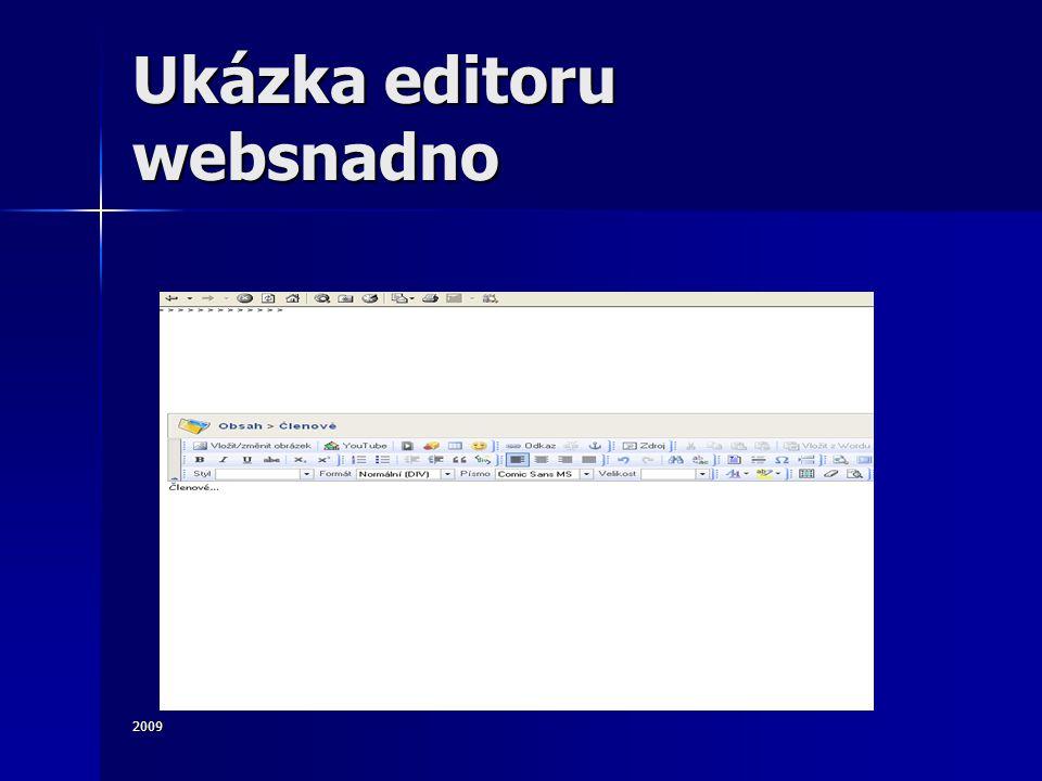 2009 Ukázka editoru websnadno