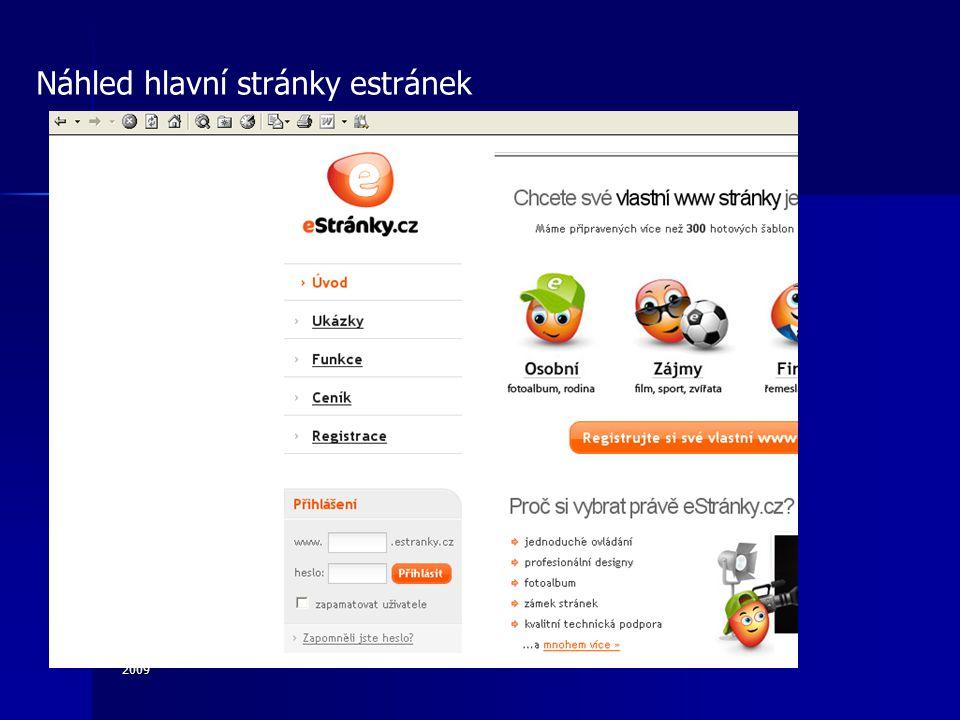 2009 Náhled hlavní stránky estránek