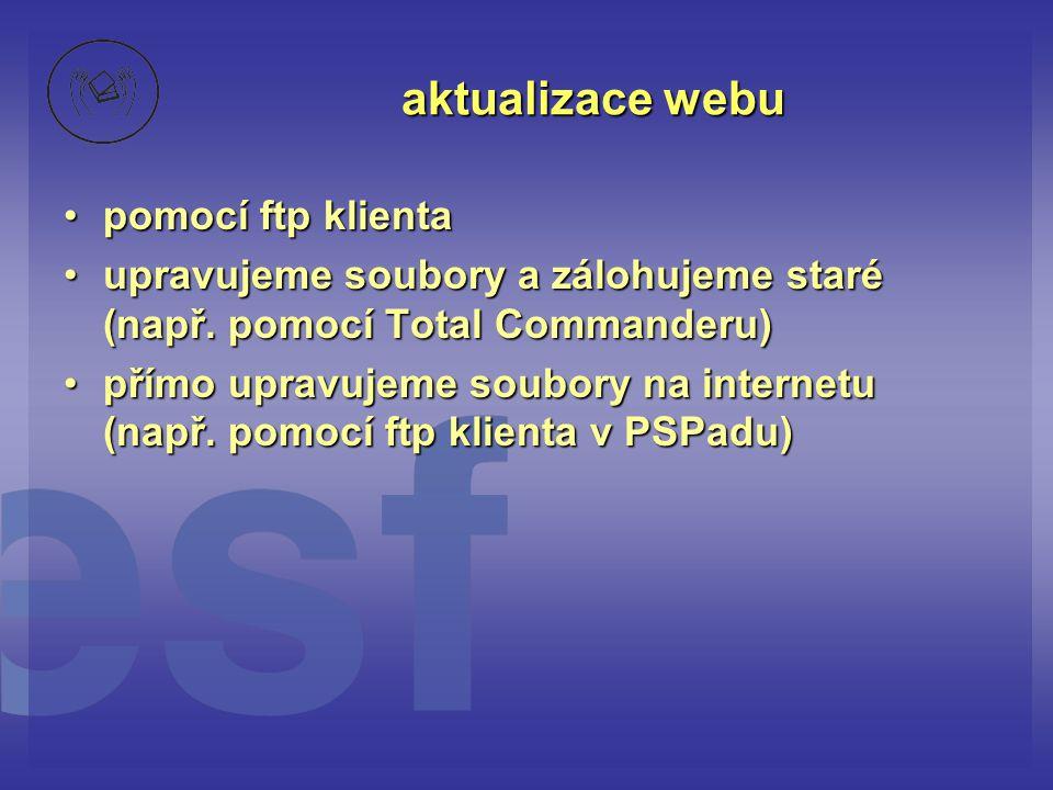 aktualizace webu pomocí ftp klientapomocí ftp klienta upravujeme soubory a zálohujeme staré (např.