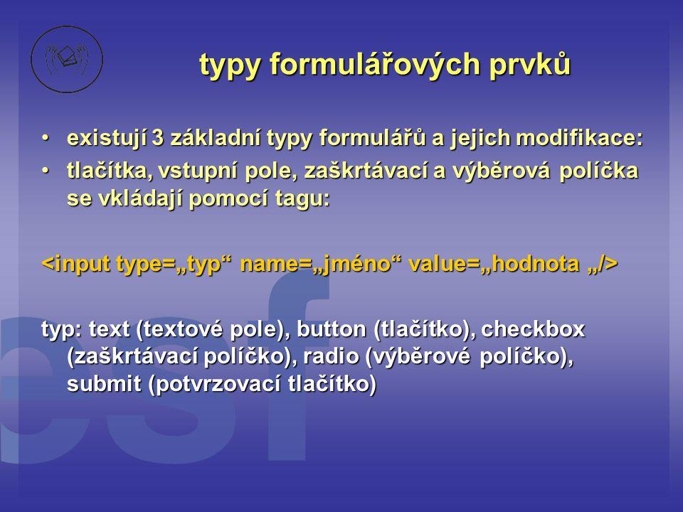 typy formulářových prvků existují 3 základní typy formulářů a jejich modifikace:existují 3 základní typy formulářů a jejich modifikace: tlačítka, vstupní pole, zaškrtávací a výběrová políčka se vkládají pomocí tagu:tlačítka, vstupní pole, zaškrtávací a výběrová políčka se vkládají pomocí tagu: typ: text (textové pole), button (tlačítko), checkbox (zaškrtávací políčko), radio (výběrové políčko), submit (potvrzovací tlačítko)