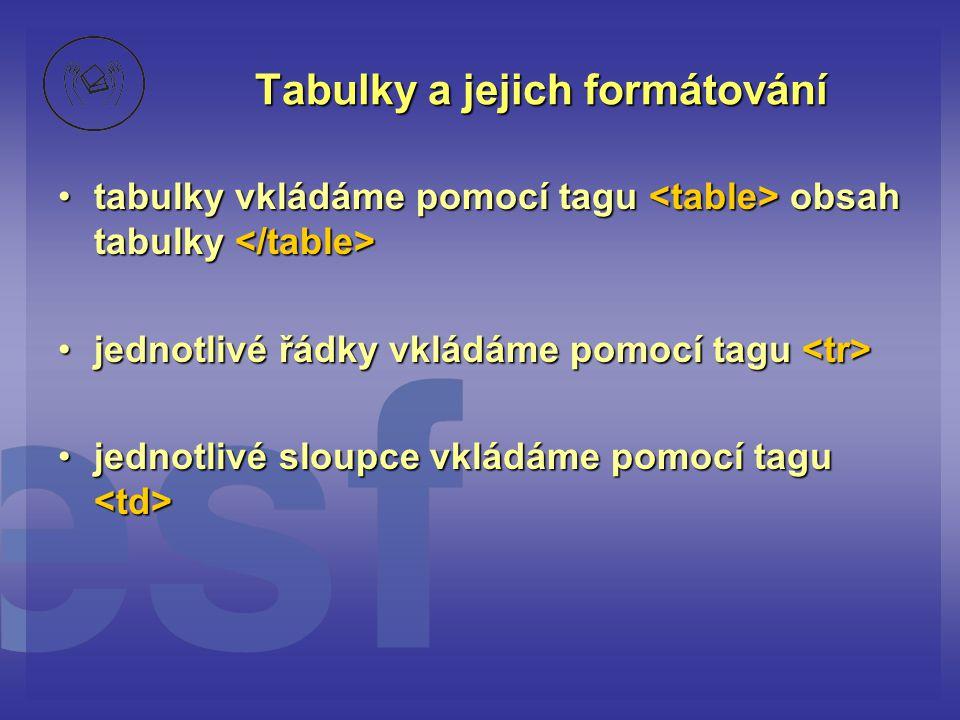 Tabulky a jejich formátování tabulky vkládáme pomocí tagu obsah tabulky tabulky vkládáme pomocí tagu obsah tabulky jednotlivé řádky vkládáme pomocí ta