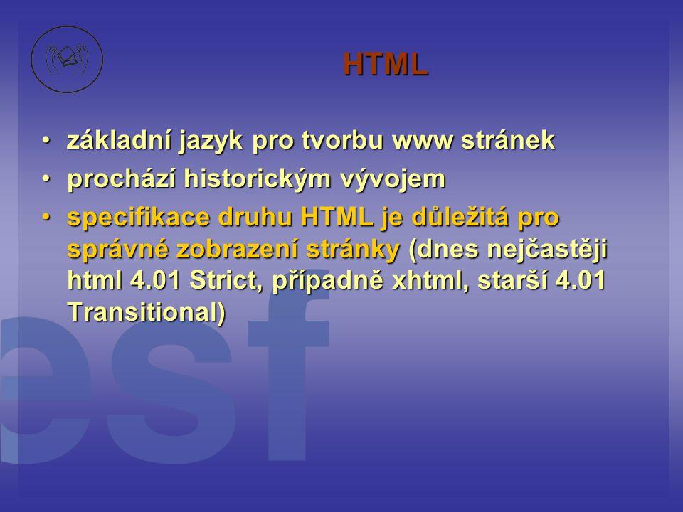 HTML základní jazyk pro tvorbu www stránekzákladní jazyk pro tvorbu www stránek prochází historickým vývojemprochází historickým vývojem specifikace d