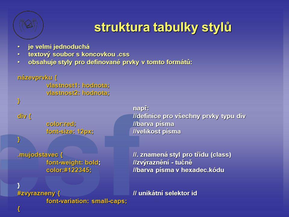 struktura tabulky stylů je velmi jednoducháje velmi jednoduchá textový soubor s koncovkou.csstextový soubor s koncovkou.css obsahuje styly pro definované prvky v tomto formátů:obsahuje styly pro definované prvky v tomto formátů: názevprvku { vlastnost1: hodnota; vlastnost2: hodnota; }např: div {//definice pro všechny prvky typu div color:red;//barva písma font-size: 12px;//velikost písma }.mujodstavec {//.
