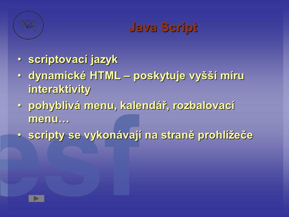 Java Script scriptovací jazykscriptovací jazyk dynamické HTML – poskytuje vyšší míru interaktivitydynamické HTML – poskytuje vyšší míru interaktivity pohyblivá menu, kalendář, rozbalovací menu…pohyblivá menu, kalendář, rozbalovací menu… scripty se vykonávají na straně prohlížečescripty se vykonávají na straně prohlížeče