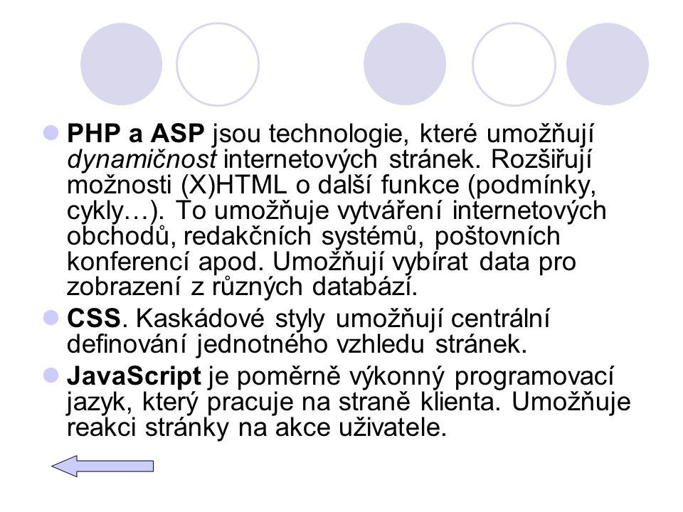PHP a ASP jsou technologie, které umožňují dynamičnost internetových stránek. Rozšiřují možnosti (X)HTML o další funkce (podmínky, cykly…). To umožňuj