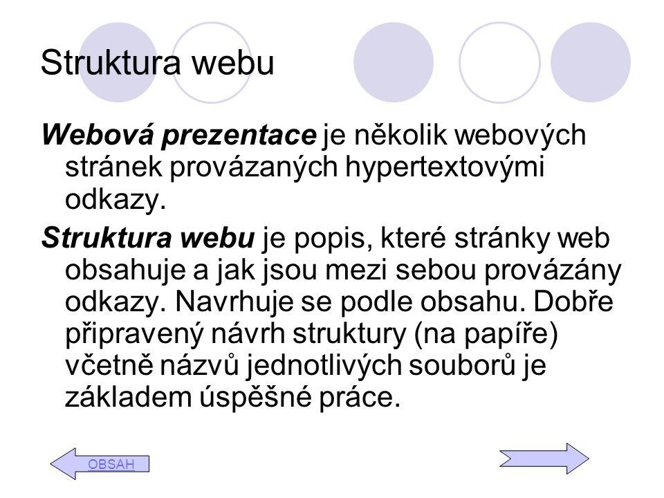 Struktura webu Webová prezentace je několik webových stránek provázaných hypertextovými odkazy. Struktura webu je popis, které stránky web obsahuje a