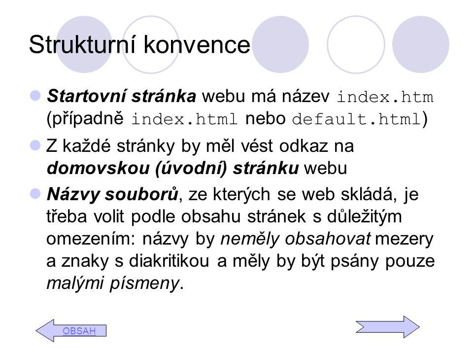 Strukturní konvence Startovní stránka webu má název index.htm (případně index.html nebo default.html ) Z každé stránky by měl vést odkaz na domovskou