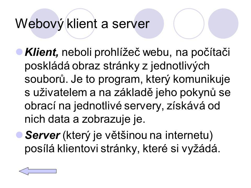 Webový klient a server Klient, neboli prohlížeč webu, na počítači poskládá obraz stránky z jednotlivých souborů. Je to program, který komunikuje s uži