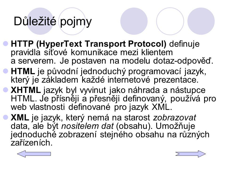 Důležité pojmy HTTP (HyperText Transport Protocol) definuje pravidla síťové komunikace mezi klientem a serverem. Je postaven na modelu dotaz-odpověď.