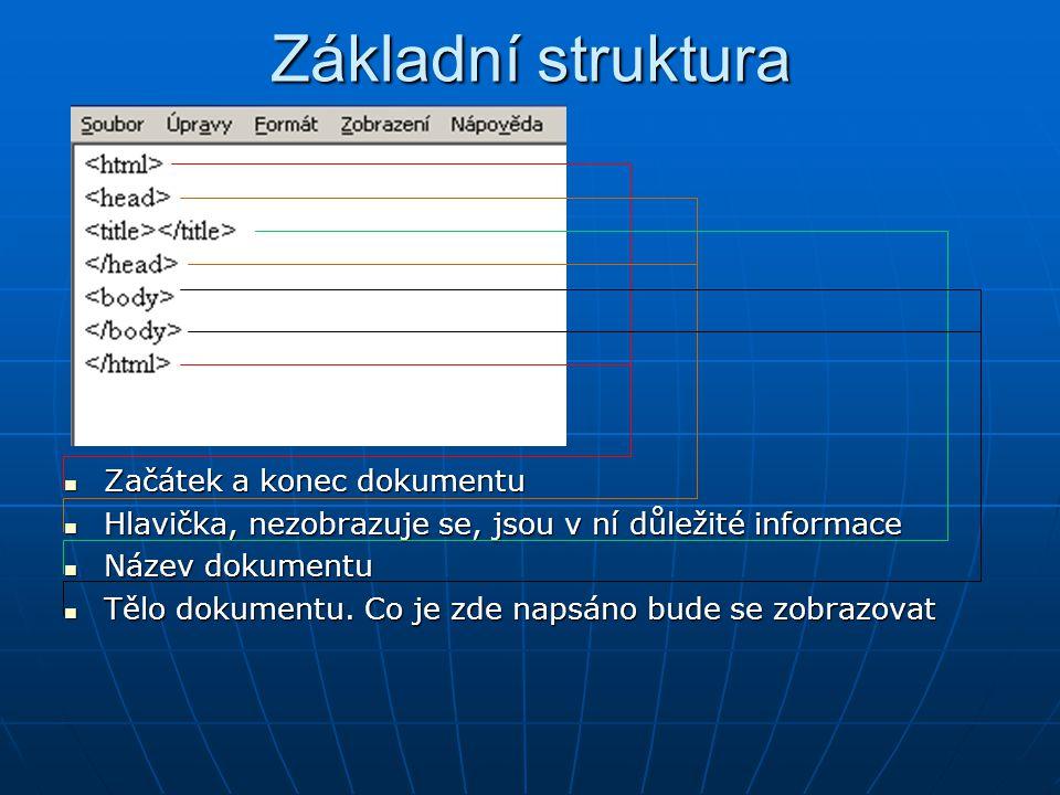 Základní struktura Začátek a konec dokumentu Začátek a konec dokumentu Hlavička, nezobrazuje se, jsou v ní důležité informace Hlavička, nezobrazuje se, jsou v ní důležité informace Název dokumentu Název dokumentu Tělo dokumentu.