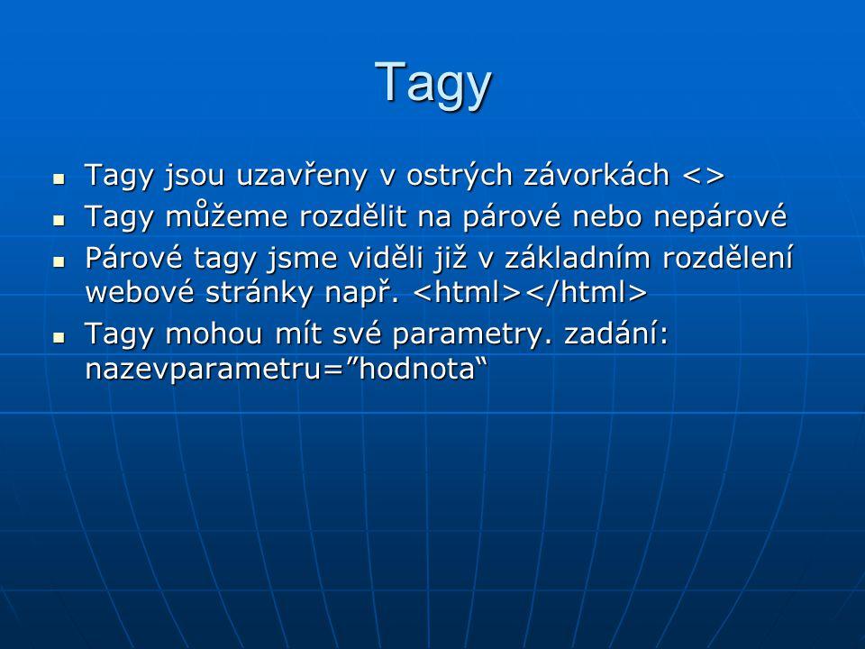 Tagy Tagy jsou uzavřeny v ostrých závorkách <> Tagy jsou uzavřeny v ostrých závorkách <> Tagy můžeme rozdělit na párové nebo nepárové Tagy můžeme rozdělit na párové nebo nepárové Párové tagy jsme viděli již v základním rozdělení webové stránky např.