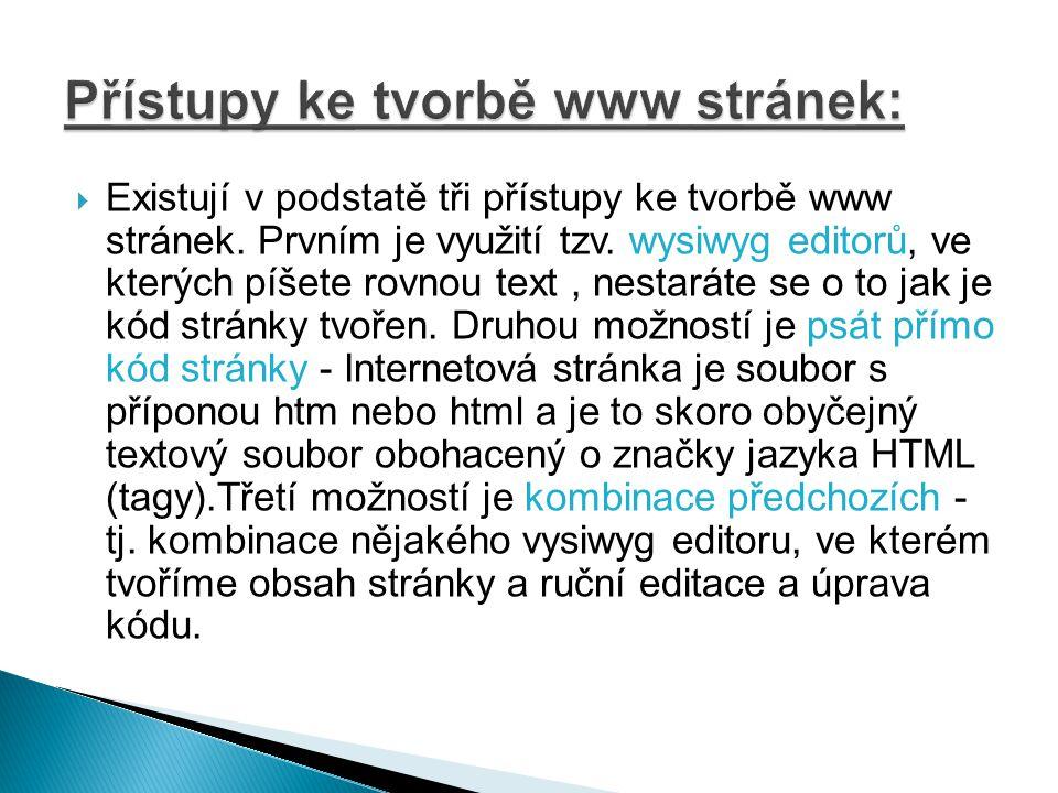  WWW stránky jsou spolu s elektronickou poštou a komunikačními programy nejpoužívanějšími prostředky internetu.