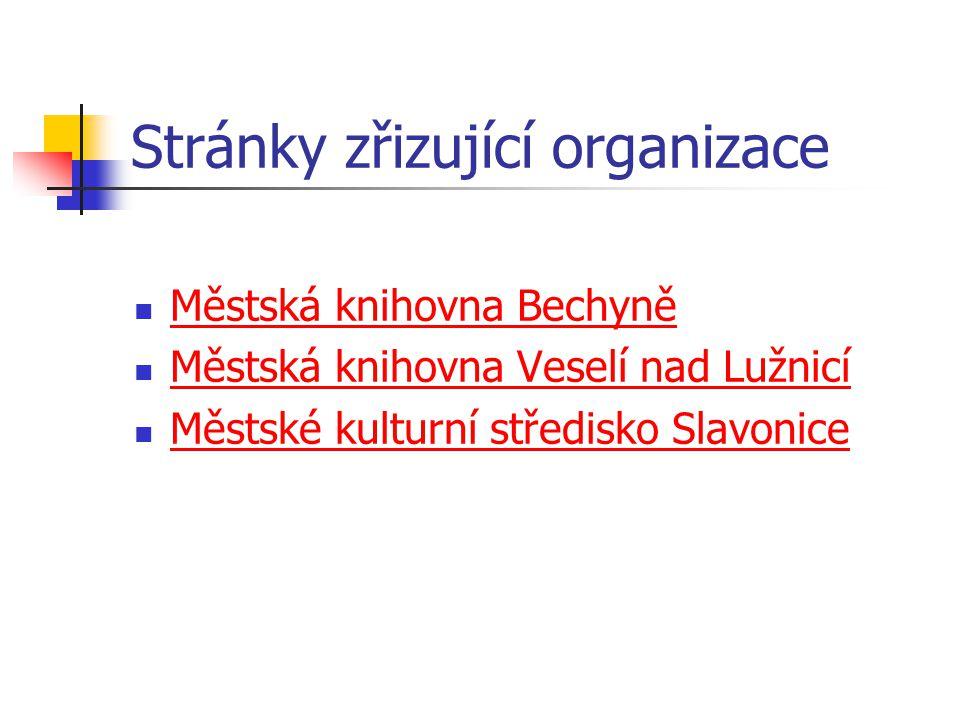 Stránky zřizující organizace Městská knihovna Bechyně Městská knihovna Veselí nad Lužnicí Městské kulturní středisko Slavonice