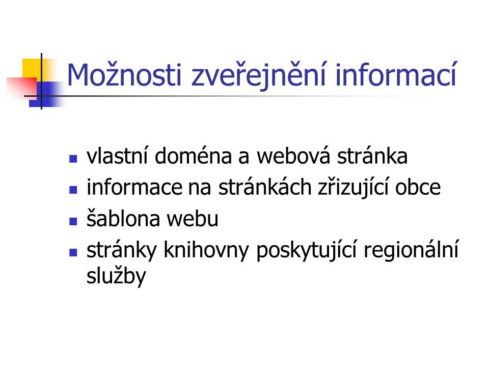 Možnosti zveřejnění informací vlastní doména a webová stránka informace na stránkách zřizující obce šablona webu stránky knihovny poskytující regionální služby