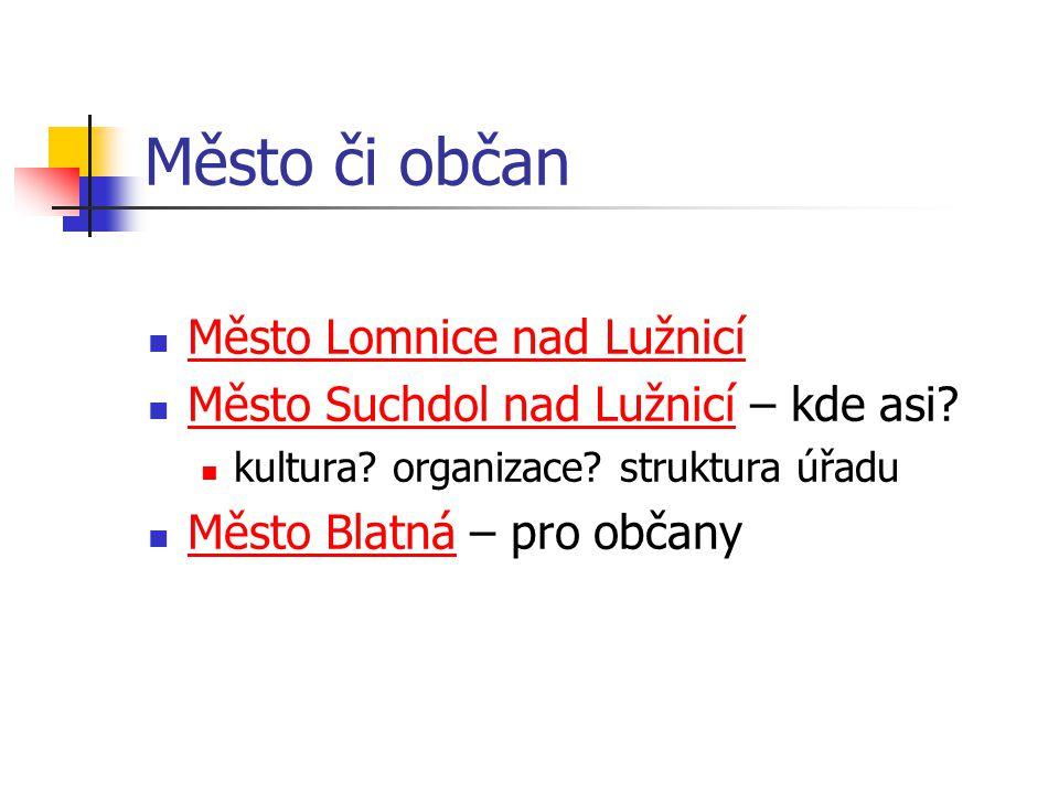 Město či občan Město Lomnice nad Lužnicí Město Suchdol nad Lužnicí – kde asi.