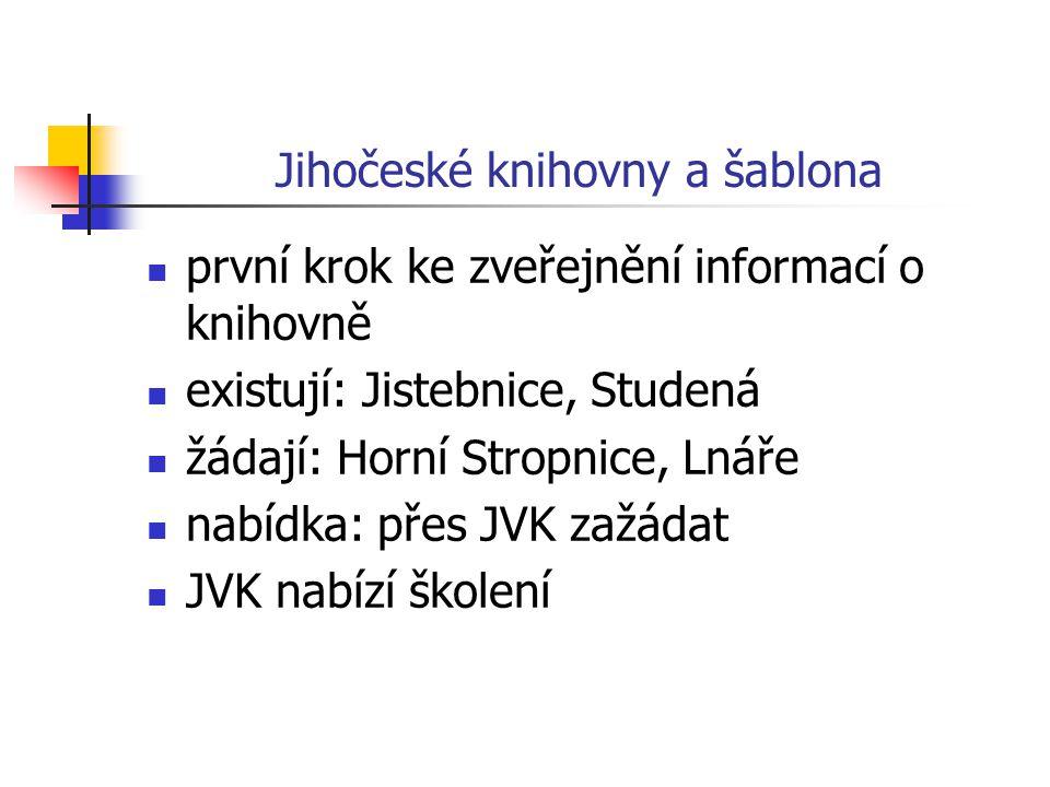 Jihočeské knihovny a šablona první krok ke zveřejnění informací o knihovně existují: Jistebnice, Studená žádají: Horní Stropnice, Lnáře nabídka: přes JVK zažádat JVK nabízí školení