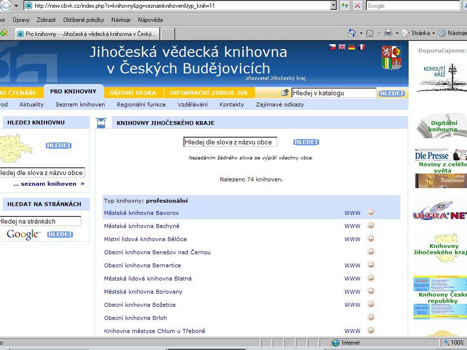 Profesionální knihovny vlastní webové stránky stránky obce – různá úroveň stránky zřizující organizace šablona webu stránky regionu stránky pověřené knihovny pouze v seznamu knihoven kraje