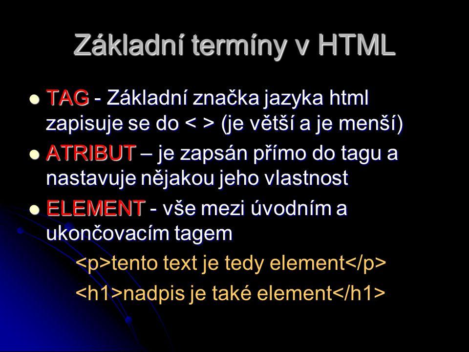 Základní termíny v HTML TAG - Základní značka jazyka html zapisuje se do (je větší a je menší) TAG - Základní značka jazyka html zapisuje se do (je větší a je menší) ATRIBUT – je zapsán přímo do tagu a nastavuje nějakou jeho vlastnost ATRIBUT – je zapsán přímo do tagu a nastavuje nějakou jeho vlastnost ELEMENT - vše mezi úvodním a ukončovacím tagem ELEMENT - vše mezi úvodním a ukončovacím tagem tento text je tedy element nadpis je také element