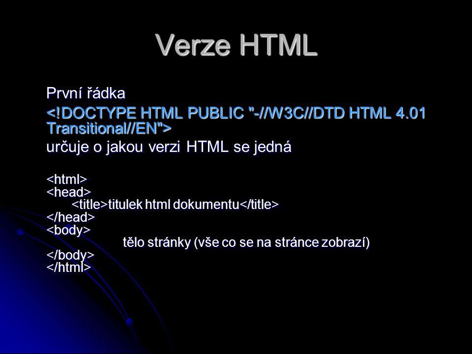 Verze HTML První řádka určuje o jakou verzi HTML se jedná titulek html dokumentu tělo stránky (vše co se na stránce zobrazí) titulek html dokumentu tělo stránky (vše co se na stránce zobrazí)
