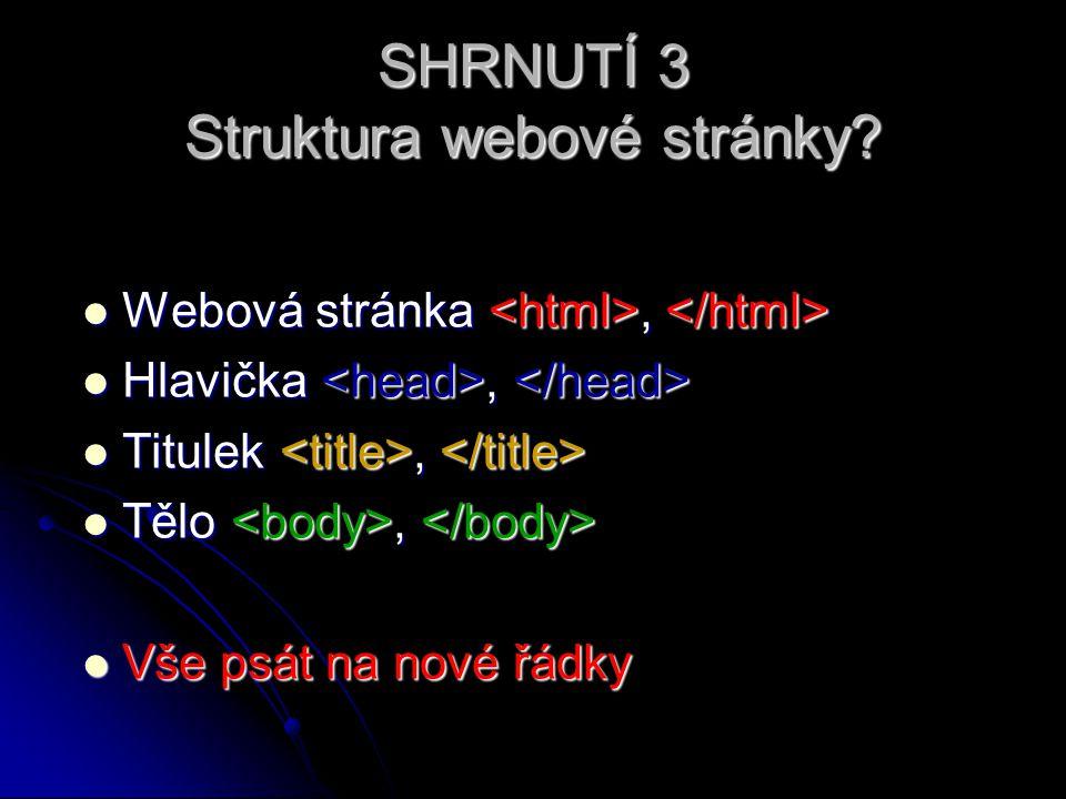 SHRNUTÍ 3 Struktura webové stránky.