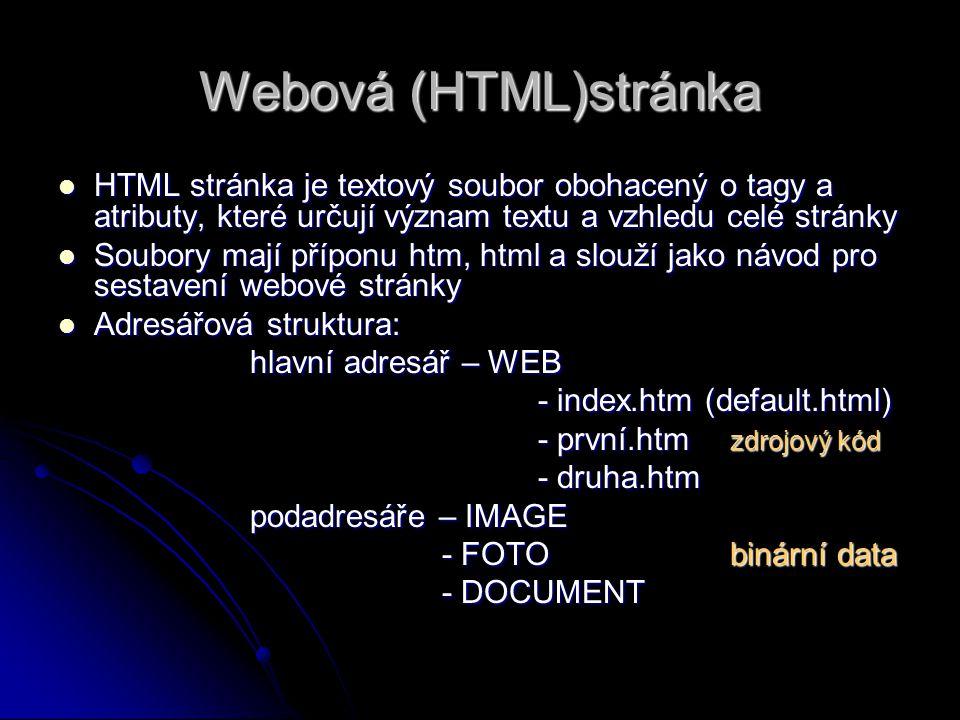 Webová (HTML)stránka HTML stránka je textový soubor obohacený o tagy a atributy, které určují význam textu a vzhledu celé stránky HTML stránka je textový soubor obohacený o tagy a atributy, které určují význam textu a vzhledu celé stránky Soubory mají příponu htm, html a slouží jako návod pro sestavení webové stránky Soubory mají příponu htm, html a slouží jako návod pro sestavení webové stránky Adresářová struktura: Adresářová struktura: hlavní adresář – WEB - index.htm (default.html) - první.htm zdrojový kód - druha.htm podadresáře – IMAGE - FOTObinární data - DOCUMENT
