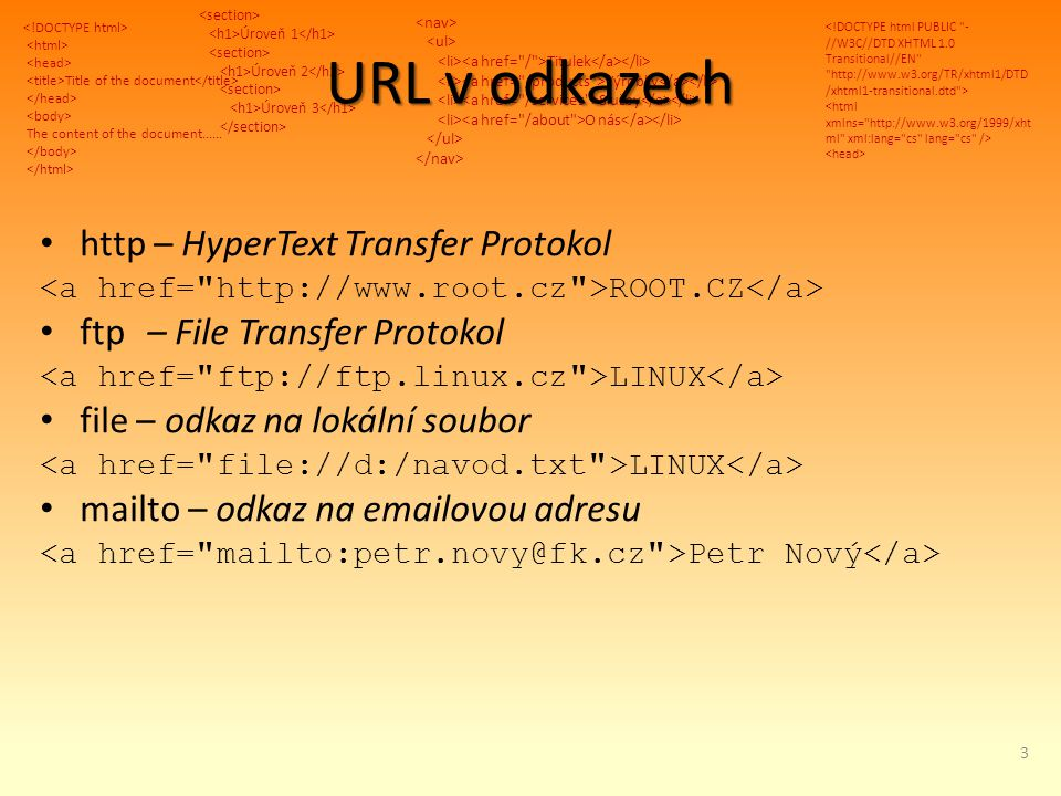 Title of the document The content of the document...... Úroveň 1 Úroveň 2 Úroveň 3 Titulek Výrobky Služby O nás URL v odkazech http – HyperText Transf