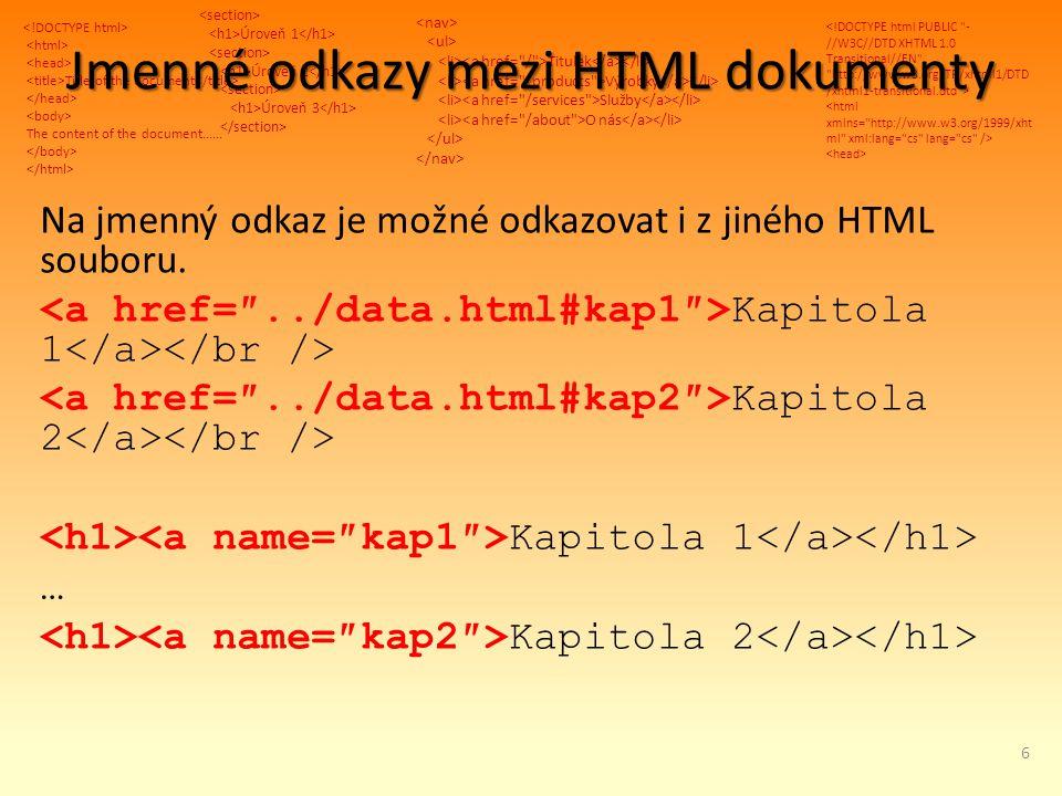 Title of the document The content of the document...... Úroveň 1 Úroveň 2 Úroveň 3 Titulek Výrobky Služby O nás Jmenné odkazy mezi HTML dokumenty Na j