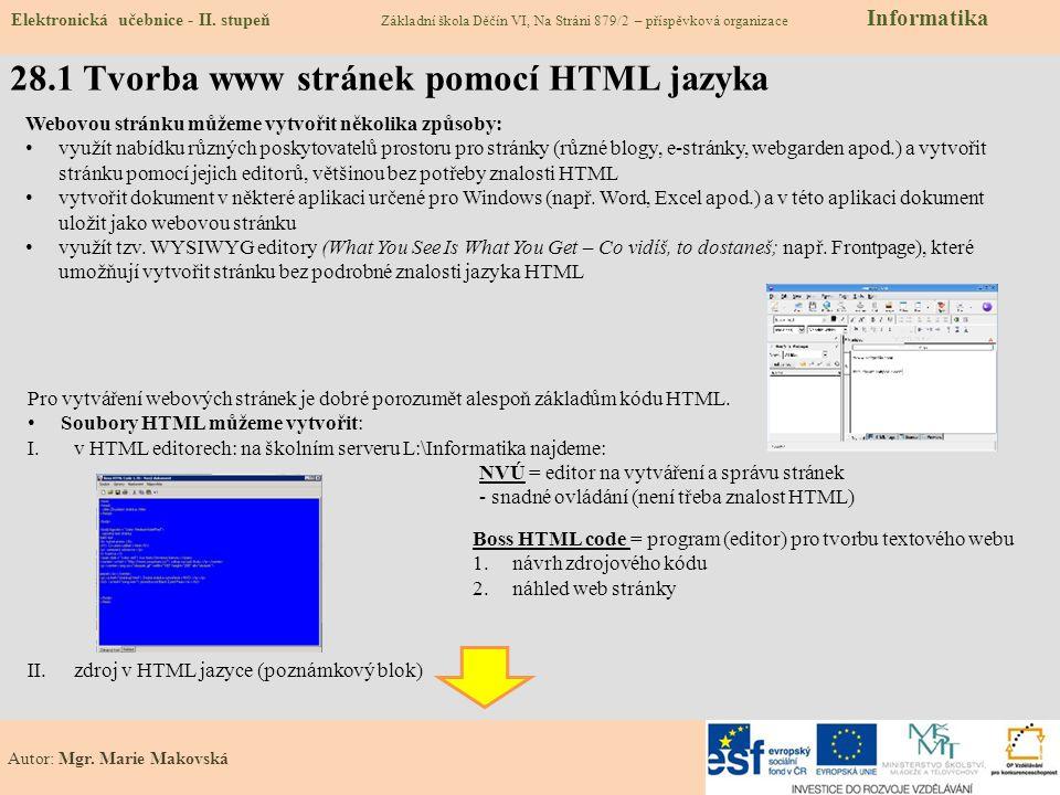 28.2 Co už umíme – vytvořit vlastní blog Elektronická učebnice - II.