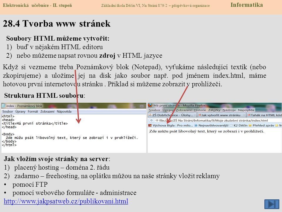 28.5 Cvičení – tvorba www stránek Elektronická učebnice - II.