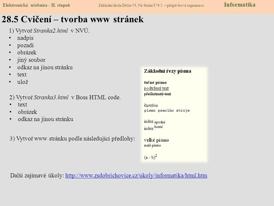 28.6 Pro šikovné – Vytvoř si vlastní stránky pomocí HTML Elektronická učebnice - II.