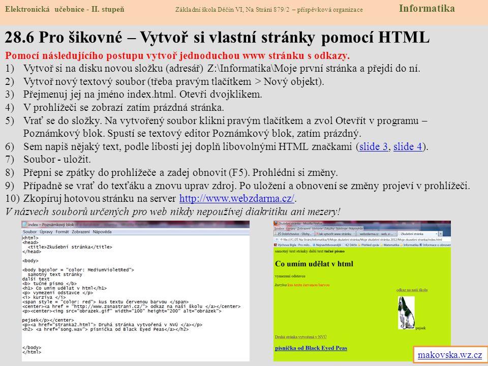 28.7 CLIL – Writing the colours in HTML Elektronická učebnice - II.