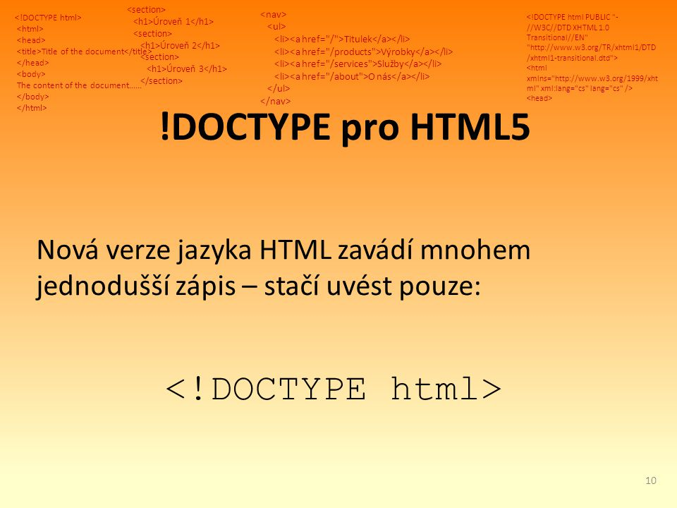 Title of the document The content of the document...... Úroveň 1 Úroveň 2 Úroveň 3 Titulek Výrobky Služby O nás !DOCTYPE pro HTML5 Nová verze jazyka H